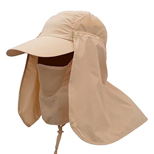 Wingbind Outdoor Sun Protection Angeln Cap mit abnehmbaren Hals Klappe, Gesichtsmaske, breiter Krempe Sommer Hut, Volltonfarbe Boonie Hut für Männer Frauen -