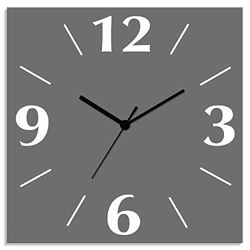 Artland Wanduhr ohne Tickgeräusche Alu Quarzuhr lautlos Größe: 30x30 cm Trendfarbe Grau S7KC