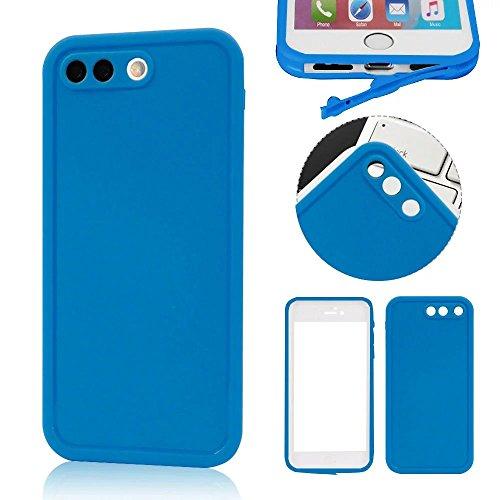 MOMDAD iPhone 7 Plus Blanc Coque iPhone 7 Plus Transparent Coque iPhone 7 Plus 5.5 Pouces TPU Silicone Housse iPhone 7 Plus Souple Case Cover Ultra-Slim avec Fonction Bouchon Anti-poussière pour iPhon étanche-blue