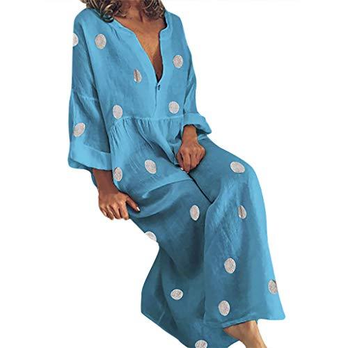 B-COMMERCE Frauen-Dame-reizvolles Loses Dot Drucken V-Ausschnitt Sleeve Minikleid-Sommer-Kleid Sieben-Viertel-Ärmel Kleid 3 Farbe Nackte Füße Länge(None Zubehör)