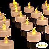 Yuanj LED Kerzen, 24 LED Teelichter Flackern Tealights, Flammenlose Kerze Batterie Draußen & Drinnen Dekoration für Party, Bekenntnis, Weihnachten, Jahrestag, Hochzeit, Ostern, Heiratsantrag