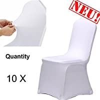 Chair Covers Acelectronic 10 pieces Universal Chair Covers Spandex Lycra White Thickening Stretch Cover Wedding Banquet Anniversary Party Decoration Flat Front Office Chair Bi-elastic Modern Slipcover (10 pieces),White