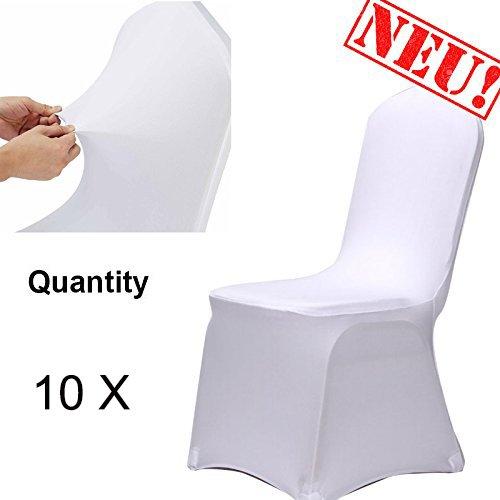 Stuhl Husse, Acelectronic 10X-100X Universell Stuhlhussen Stretch Stuhl Husse Stuhlbezug Stuhlüberzug Weiß (10X)
