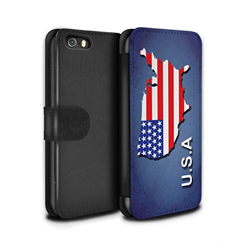 STUFF4 PU-Leder Hülle/Case/Tasche/Cover für Apple iPhone 8 Plus / Italien/Italienisch Muster / Flagge Land Kollektion Amerika/Amerikaner/USA