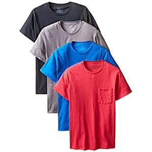 Fruit of the Loom Men's 4-Pack Pocket Crew-Neck T-Shirt – Colors May Vary