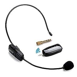 2.4G Kabelloses Mikrofon, Jelly Comb Drahtlose Übertragung Microphone Speaker Kopfbügel 2 in 1 Wireless Wiederaufladbar Mikrofon für Sprachverstärker, Computer, Lautsprecher