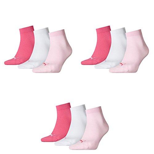Puma Socken Quarter Sneakers Damen, Herren 9er Pack, Pink/Weiß/Rose, 35-38 (UK 2.5-5), 9 Paar