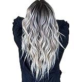 Peluca de pelo ondulado largo de color plateado oscuro gris oscuro pelucas delanteras del cordón del partido de las mujeres