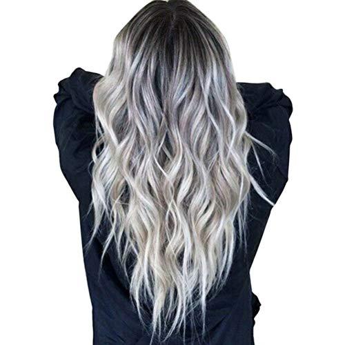 Peluca pelo ondulado largo color plateado oscuro gris