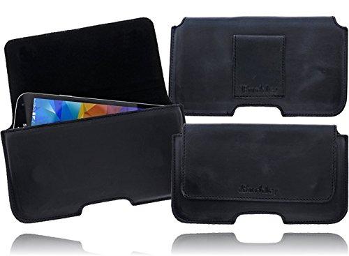 Burkley Exklusive Slim Line Leder Gürteltasche Quertasche für das Sony Xperia Miro (ST23i) mit Gürtel Schlaufe und Magnetverschluss in schwarz / black