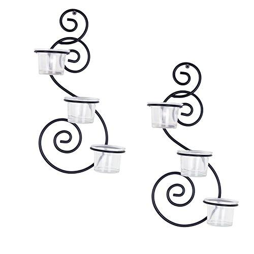 Corneria Coppia di Swirling robusto da appendere in metallo porta candela sconce, 6Cups