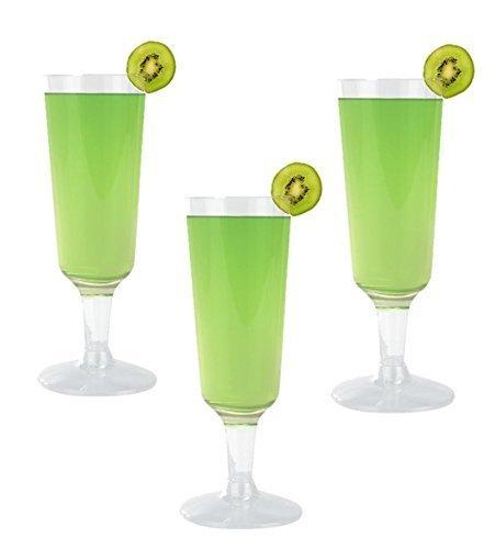 Hochwertige Harte Kunststoff transparent champagner Flöten. Premium Wein Cocktail Party Cups 5,5Unze Kapazität, Set von 18Einweg Glas Drinkware Stielglas.