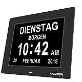 Longsea Reloj Calendario Digital 8' Multifunción Reloj Despertador Soporte de Tarjeta SD para Reproducir Fotos y Videos, 8 Alarmas Programables, para Todos Especialmente Alzheimer y Niños (Negro)