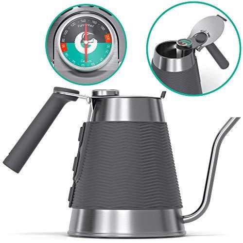 Coffee Gator True Brew Handbrüh Kaffeekessel - Professioneller Gießkessel mit präzisem Schwanenhalsauslauf, integriertem Thermometer und Schnellfülldeckel - Für alle Herdplatten - 1.6l