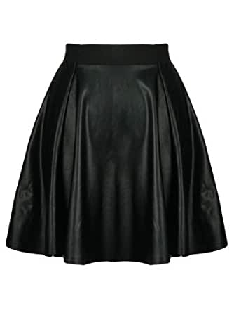WOMENS LADIES FAUX LEATHER WET LOOK PVC THIN BAND SHORT SKATER SKIRT BLACK WET LOOK - Thin Band PVC Skater Skirt ML 12-14