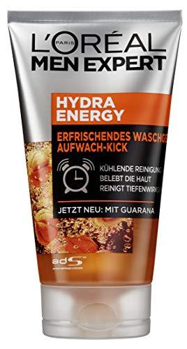L'Oreal Men Expert Hydra Energy Erfrischendes Waschgel, Aufwach-Kick, mit Guarana, 3 X 150 ml