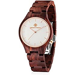 unisex Erwachsener hölzerne Uhr handgemacht Sandelholz armbanduhr Mit japanischer Quarzwerk 40mm Uhrengehäuse