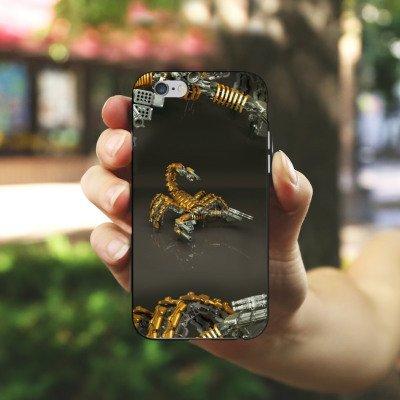 Apple iPhone 4 Housse étui coque protection Scorpion Or Scorpion Housse en silicone noir / blanc