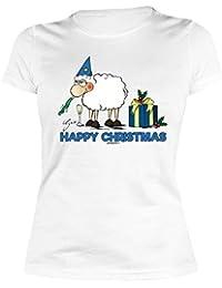 Weihnachten Weihnachtsshirt Print Damen T-Shirt Silvester Schaf HAPPY CHRISTMAS Weihnachtsmotiv bedruckt Advent Weihnachtszeit Nikolaus : )