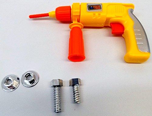 Brigamo 505 – Kinderwerkzeug Set mit funktionierender Kettensäge und Bohrhammer + Bauarbeiter Helm - 3
