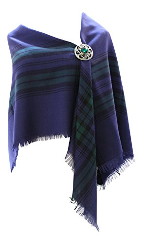 100% Pure New Wolle Authentic Traditionelle schottische Tartan Bordüre Schal - Blackwatch - Authentic Wolle