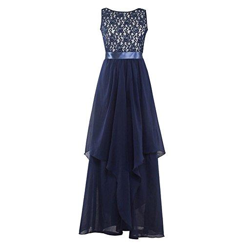 Wodery Donne formale maniche maxi abito da damigella abito di sfera Dress Blu Scuro S