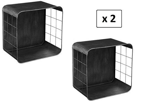 Set aus 2 Kastenregalen - Industrie- bzw. Atelier- /Loft-Stil - Farbe GRAU Anthrazit