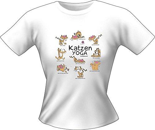 Katzen Sprüche - Yoga - Fun Lady T-Shirt 100% Baumwolle - Größe M