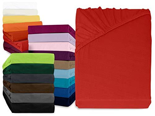npluseins klassisches Jersey Spannbetttuch - erhältlich in 34 modernen Farben und 6 verschiedenen Größen - 100% Baumwolle, 90-100 x 200 cm, rot