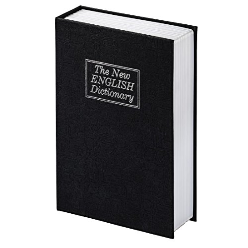 Hama Buchtresor mit Schlüssel (Buchattrappe mit Geheimfach, The New English Dictionary Wörterbuch, Buchsafe) schwarz