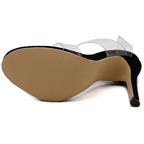 Oasap Damen Offen Stiletto Transparente Slingback Sandalen Black