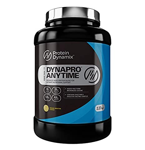 Protein Dynamix DynaPro Anytime 100% quality whey protein powder shake drink mix 75 servings (Banana Smoothie, 2.27kg)