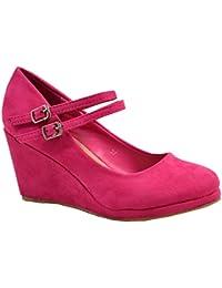 82797106dc CucuFashion Womens Ladies High Wedge Heel Pumps Platform Double Strap Shoes  Size UK 3-8
