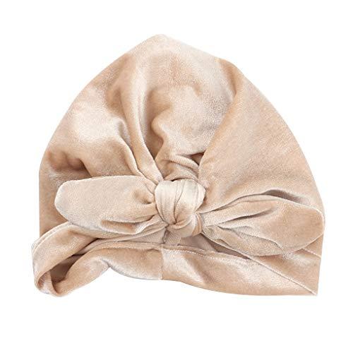 Babysbreath17 Baby-Samt-Turban-Hut-Kleinkind-Baby-Bogen-Stirnband Häschen-Ohr-Headwraps geknotete Wrap Kopfschmuck Beige -