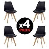 duehome, beench) Pack di 4sedie, legno di faggio, 49x 53.5x 83cm, Nero
