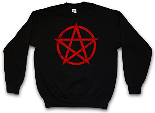 RED PENTAGRAM SIGN PULLOVER SWEATER SWEATSHIRT MAGLIONE - Satan Crowley Pentacle Pentagramm pentagramma Satanic Circle diavolo 666 Shirt Taglie S - 5XL