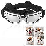 LHKJ Occhiali da Sole per Cani,Animale Domestico UV Goggle Occhiali da Vento Antivento Protezione,Argento