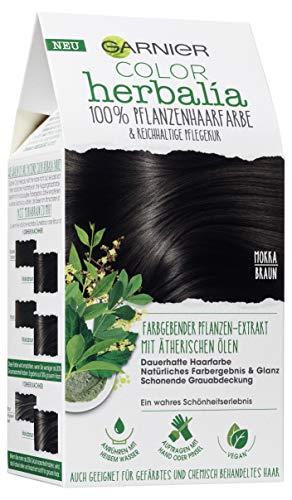 Garnier Color Herbalia Mokkabraun, Pflanzenhaarfarbe mit Henna, Indigo und ätherischen Ölen, vegane Haarfarbe (3 Stück)