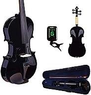 Kadence, Vivaldi 4/4 Violin With Bow, Rosin, Hard Case, Tuner V001-C (Black)
