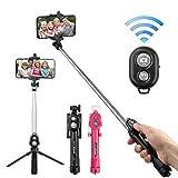 Biuday 2 in 1 Drahtlose Bluetooth Selfie Stick Handheld Faltbare Einbeinstativ Mini Stativ Clip Halter Selfie-Stangen