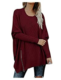 JackenLOVE Otoño y Invierno Mujeres Largo Jerséis Casual Tejer Jumpers Sweater Remata Blusa Moda Manga Larga