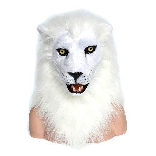 ne Cosplay Tiere Maske Heißer Verkauf Weißer Löwe Bewegen Mundmaske Mit Pelz Verziert oder Halloween Und Party Fun Tiermaske Tierkopfmaske ( Color : White , Size : 25*25 ) ()