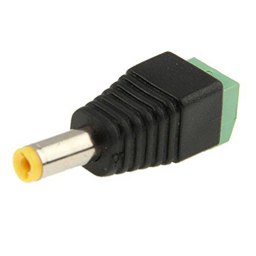 10 STÜCK - 5,5mm x 2,1mm DC-Stecker männlich Stecker-Adapter - Power Draht Spannung Stromversorgung Zubehör für CCTV Kameras und einfarbige LED Streifen Lichter DC-Hohlstecker | Movoja® | schwarz -