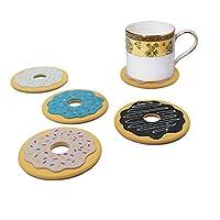 Bluemixc 4pcs Café Boisson Tasse mug Tapis Dessous-de-verre Plastique Vaisselle en silicone Donuts Motif