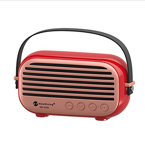 Shfmx Portable Wireless Bluetooth Speaker High-Def Sound, Built-in with FM-Radio, TF-Karte/U-Platte/aux/Perfect for Home, Outdoor, Square Dance, Car,Red - Red Square Platte