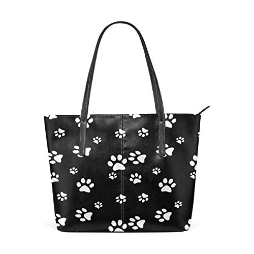 XGBags Custom Frauen Umhängetaschen Black Dog Paw Print PU Leather Shoulder Tote Bag Purse for Women Girls -