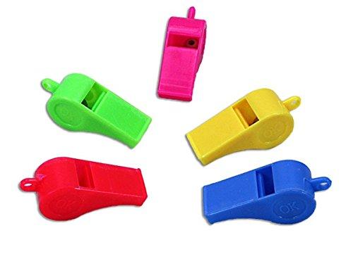 Preisvergleich Produktbild 100 Stück Pfeifen, Trillerpfeifen, in 5 Farben, Kunststoff