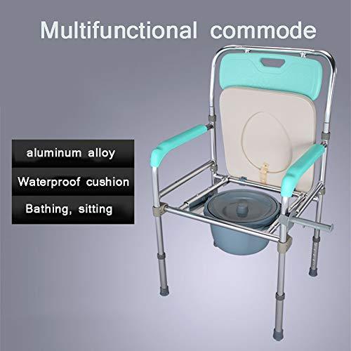 SUN RNPP Bettkommoden Toilettenstühle aluminiumlegierung faltbar,badstuhl,toilettenstuhl mit Eimer,spritzschutz und Arme,grün