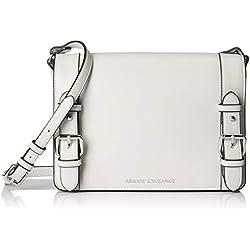 Armani Exchange - Medium Shopping Bag With Belt, Shoppers y bolsos de hombro Mujer, Blanco (White), 19x10x25 cm (B x H T)