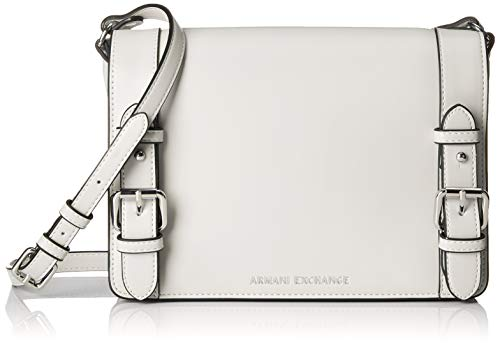 ARMANI EXCHANGE Medium Shopping Bag With Belt - Borse a spalla Donna, Bianco (White), 19x10x25 cm (B x H T)